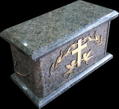 Granite Urn with Gold Gravoply Decal